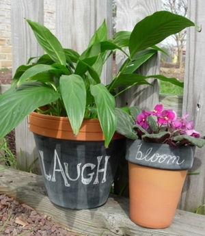 Chalk Paint Garden Pots
