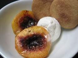 Stewed Peaches with Coconut Gelato and Shortbread Cookies