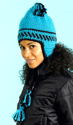 Knitting Pattern Hat With Earflaps Free : Bold Earflap Hat Crochet Pattern from Caron Yarn ...