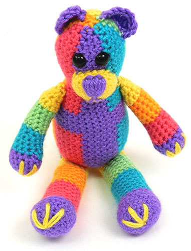Free Crochet Patterns Using Caron Yarn : Rainbow Teddy Bear Crochet Pattern from Caron Yarn ...
