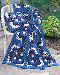 Blue and White Crochet Afghan Pattern
