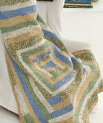 Crochet Folk Quilt Throw