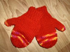Bev's Two Needle Knit Mittens for Kids
