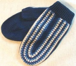 Blue Wool Crocheted Mittens