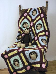 Monkey Motif Afghan