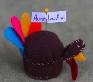 Turkey Placecard Holder or Pin Cushion