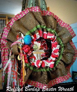 Ruffled Burlap Easter Wreath