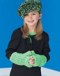 Kids Chunky Newsboy Cap and Gloves