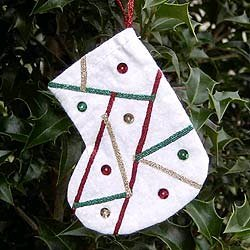Faux Quilted Stocking Ornament