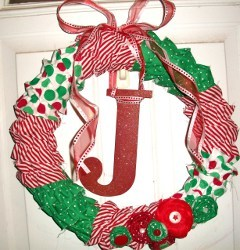 Ruffled Fabric Christmas Wreath