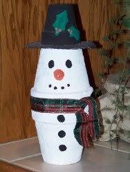 Kid's Clay Pot Snowman