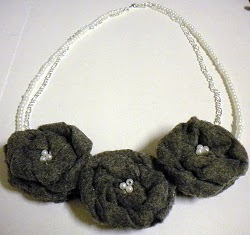 Gray Felt Flower Necklace Tutorial