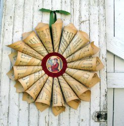 Decorative Vintage Paper Wreath