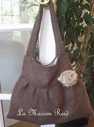 Burlap Purse With Shabby Rose