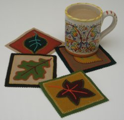 Autumn Mug Mats in Wool Applique