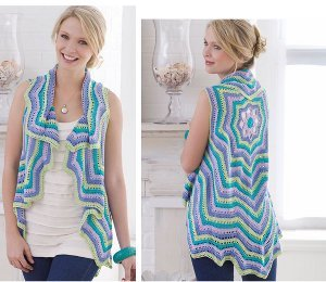 Patel Colored Rippling Vest Crocheted