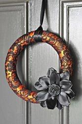 Orange and Black Lace Wreath