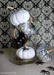 Black White and Glitter Pumpkin Centerpiece