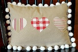 Cross My Heart Appliqued Pillow