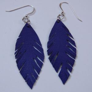 Faux Purple Leather Earrings