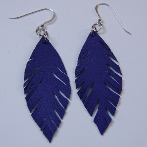 Faux Purple Leather Earrings