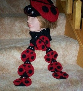Crochet Ladybug, Beret and Scarf Set