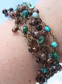 Earthy Crochet Wire Bracelet