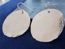 Hammered Circle Copper Earrings