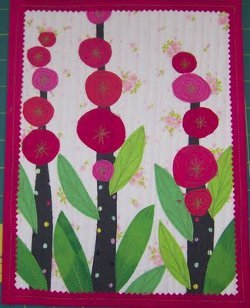 Hollyhocks Applique Mini Quilt