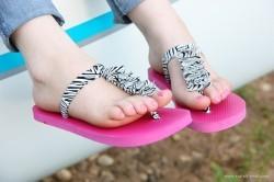 Ruffled T Strap Flip Flops
