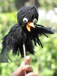 Yarn Crow Puppets