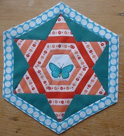 Fussy Cut Paper Pieced Hexagon Block