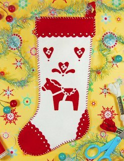 Swedish Dala Horse Applique Stocking