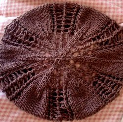 Lace Knit Autumn Leaves Beret