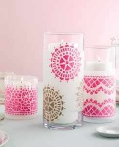 Pretty stenciled candle hurricanes medium id for Candle painting medium