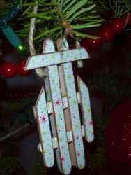 Easy Popsicle Stick Sled Ornament