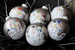 Snowman Family Handprint Ornaments