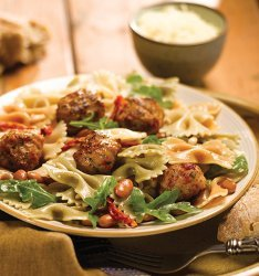 Tri Color Pasta With Tomato & Basil Meatballs