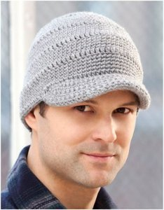 Crochet Pattern Mens Hat With Brim : Mens Brimmed Crochet Hat AllFreeCrochet.com