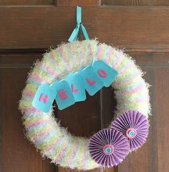 Fuzzy Hello Spring Wreath
