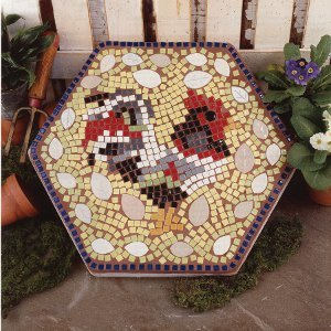 Chicken and eggs mosaic for Egg mosaic design