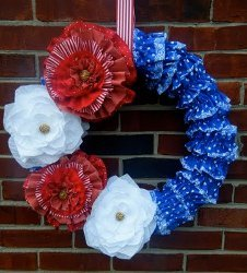 Ruffly Floral Patriotic Wreath