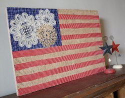 American Flag with Burlap and Doilies