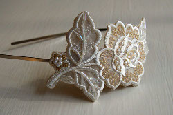 Flower Appliqued Bridal Headband
