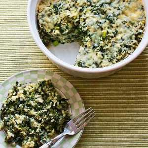 Spinach and Feta Casserole with Brown Rice and Parmesan