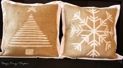 DIY Christmas Burlap Pillows