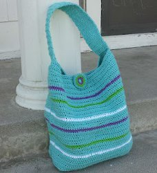 Striped Crochet Bag with Button