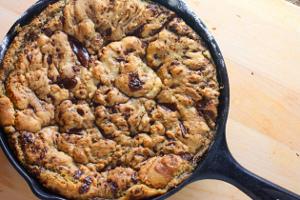 One Pan Dark Chocolate Chunk Skillet Cookie