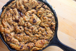 One Pan Dark Chocolate Chunk Skillet Cookie