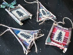Gingham and Pine Frame Ornaments